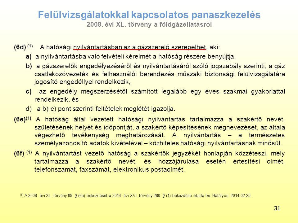 Felülvizsgálatokkal kapcsolatos panaszkezelés 2008. évi XL