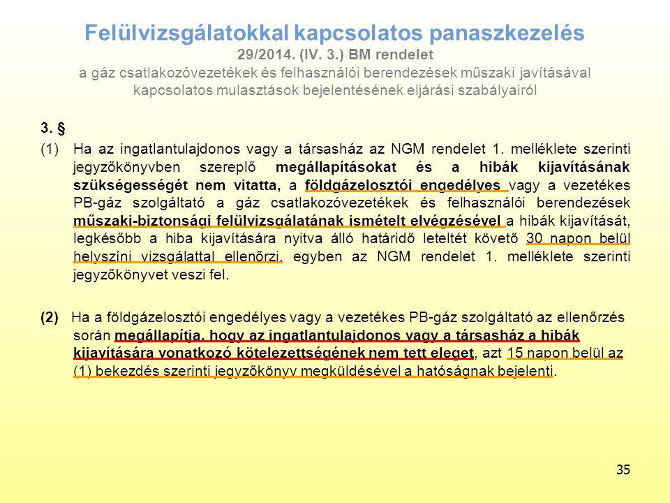 Felülvizsgálatokkal kapcsolatos panaszkezelés 29/2014. (IV. 3