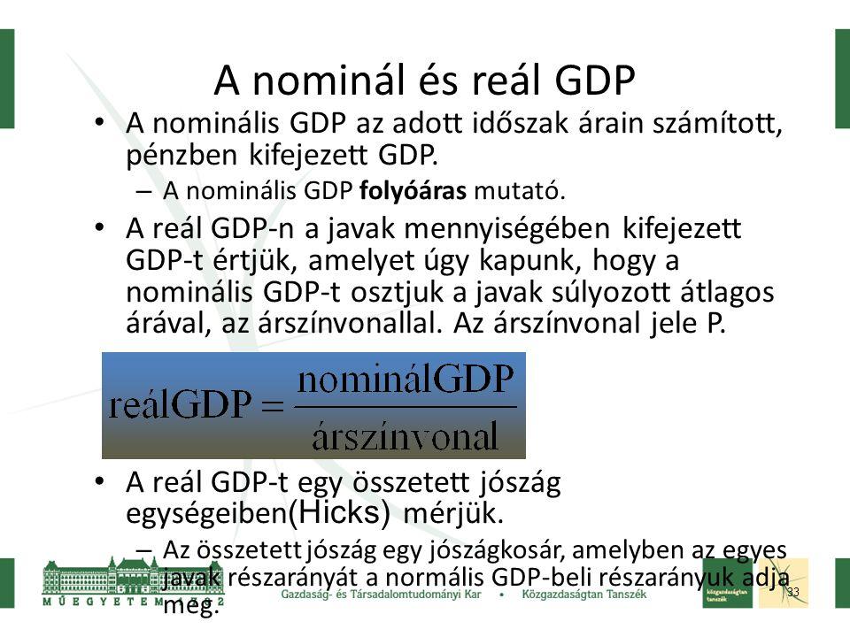 A nominál és reál GDP A nominális GDP az adott időszak árain számított, pénzben kifejezett GDP. A nominális GDP folyóáras mutató.