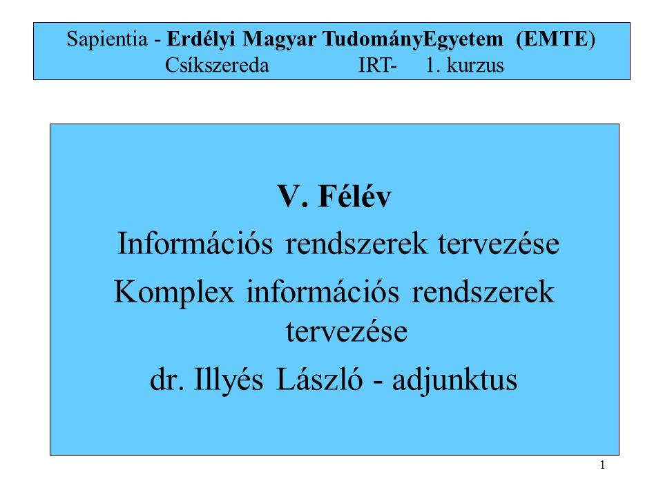 Információs rendszerek tervezése