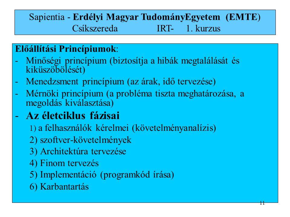 Sapientia - Erdélyi Magyar TudományEgyetem (EMTE) Csíkszereda. IRT-. 1