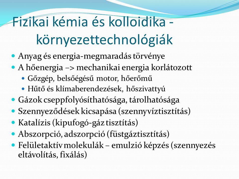 Fizikai kémia és kolloidika - környezettechnológiák