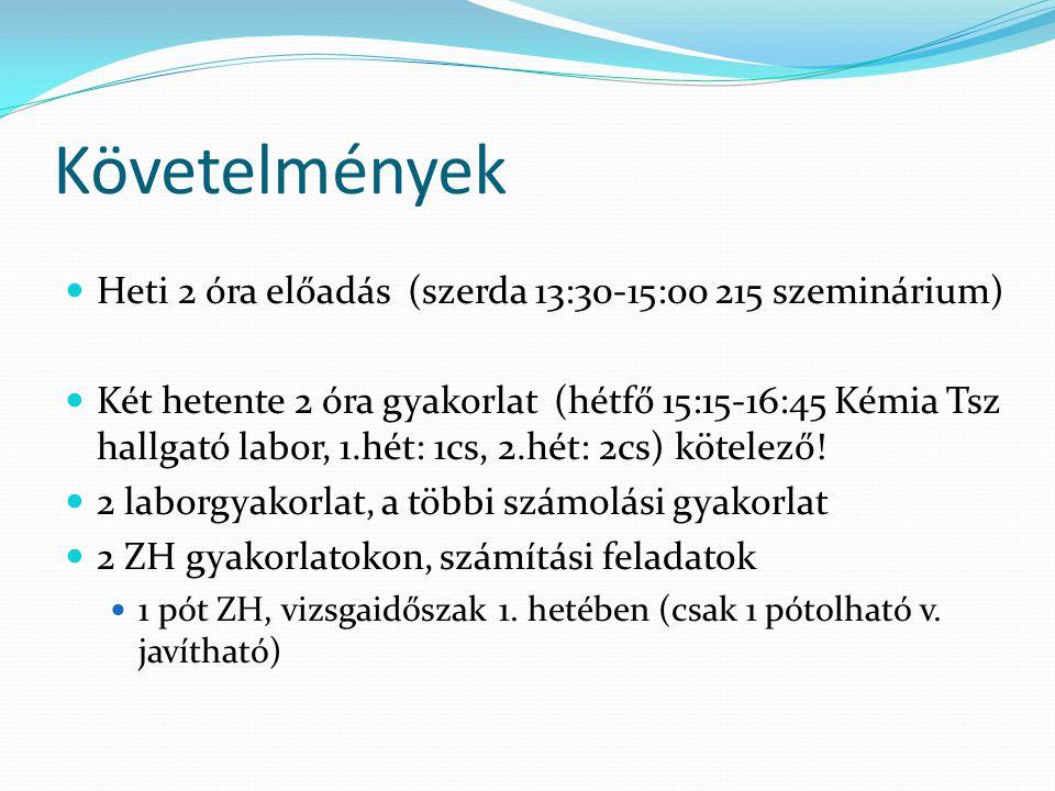 Követelmények Heti 2 óra előadás (szerda 13:30-15:00 215 szeminárium)