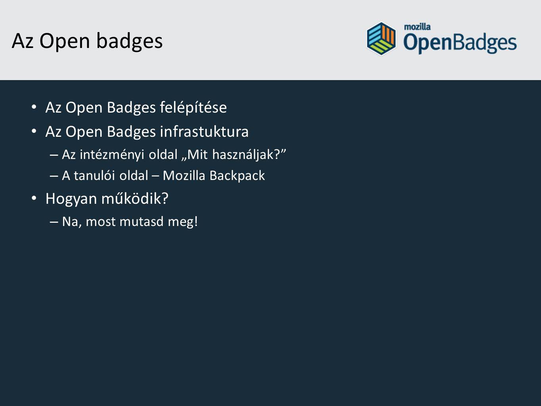 Az Open badges Az Open Badges felépítése Az Open Badges infrastuktura