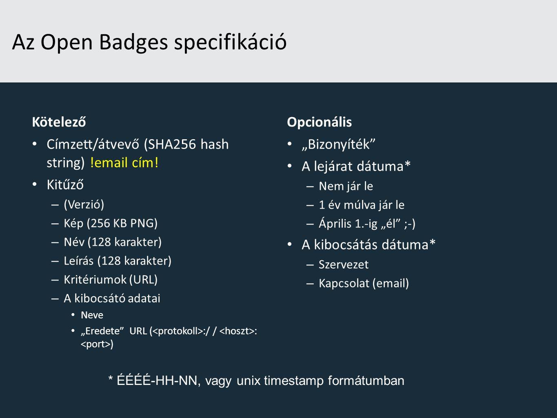Az Open Badges specifikáció