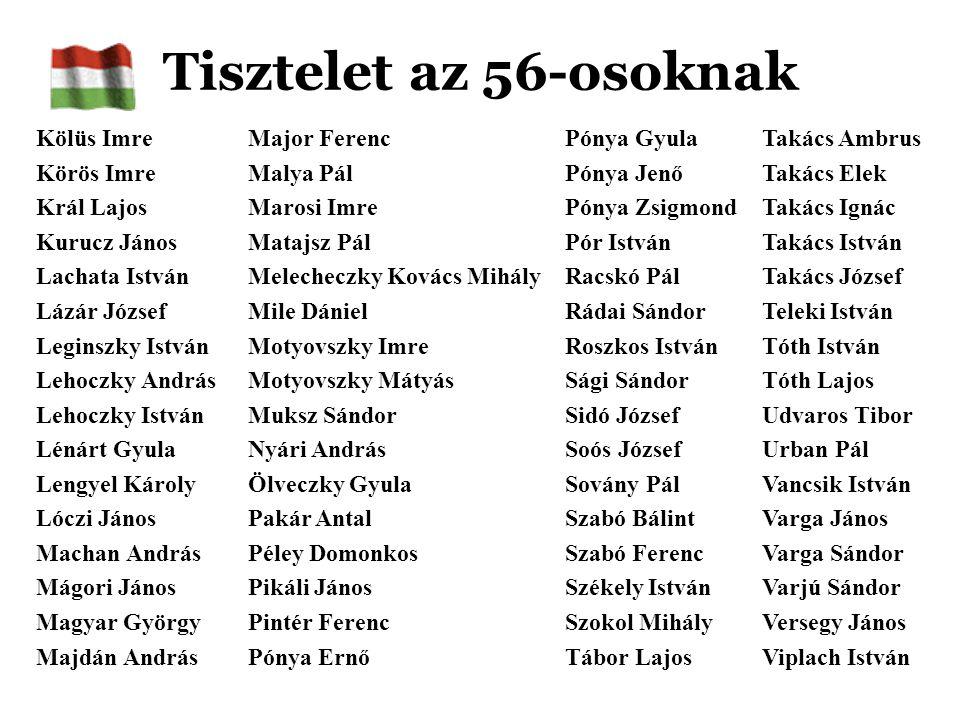 Tisztelet az 56-osoknak Kölüs Imre Körös Imre Král Lajos Kurucz János