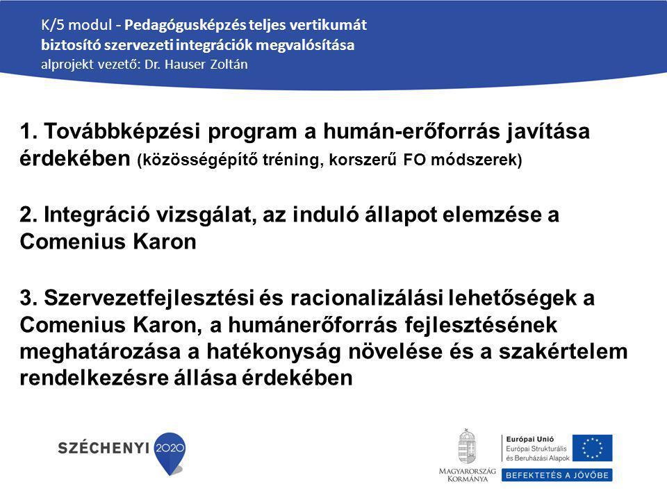 2. Integráció vizsgálat, az induló állapot elemzése a Comenius Karon