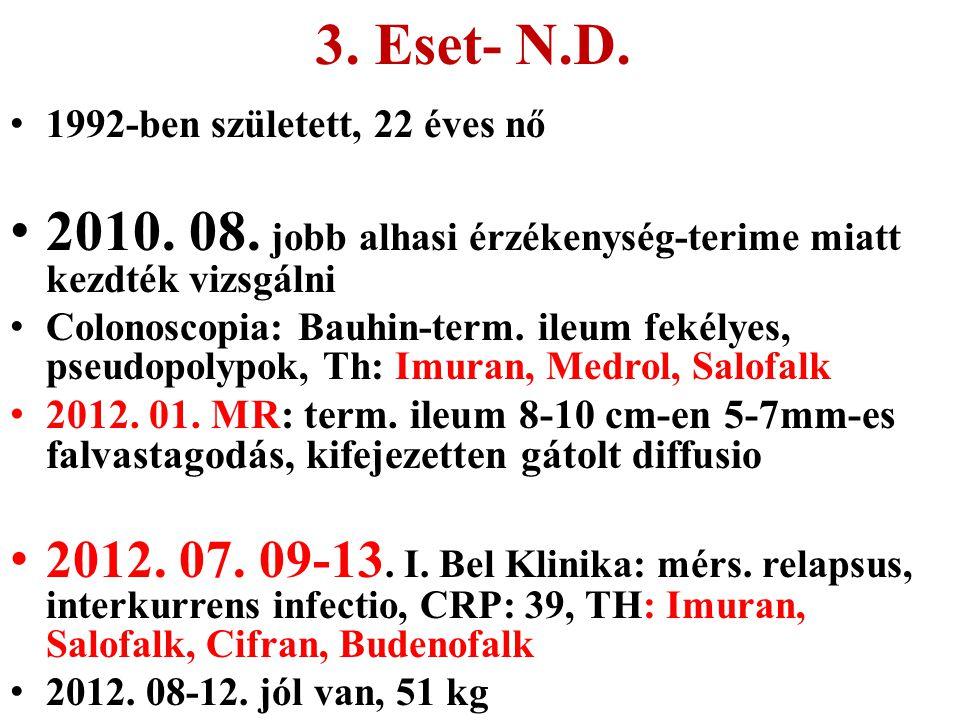 3. Eset- N.D. 1992-ben született, 22 éves nő. 2010. 08. jobb alhasi érzékenység-terime miatt kezdték vizsgálni.