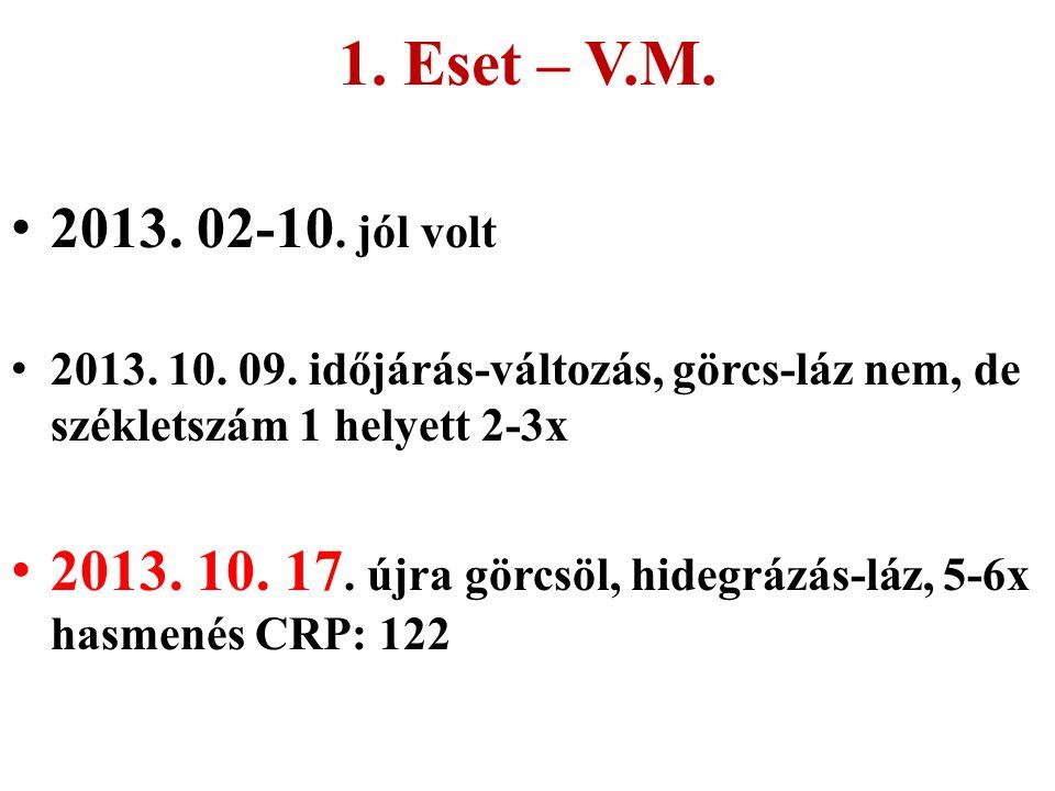 1. Eset – V.M. 2013. 02-10. jól volt. 2013. 10. 09. időjárás-változás, görcs-láz nem, de székletszám 1 helyett 2-3x.