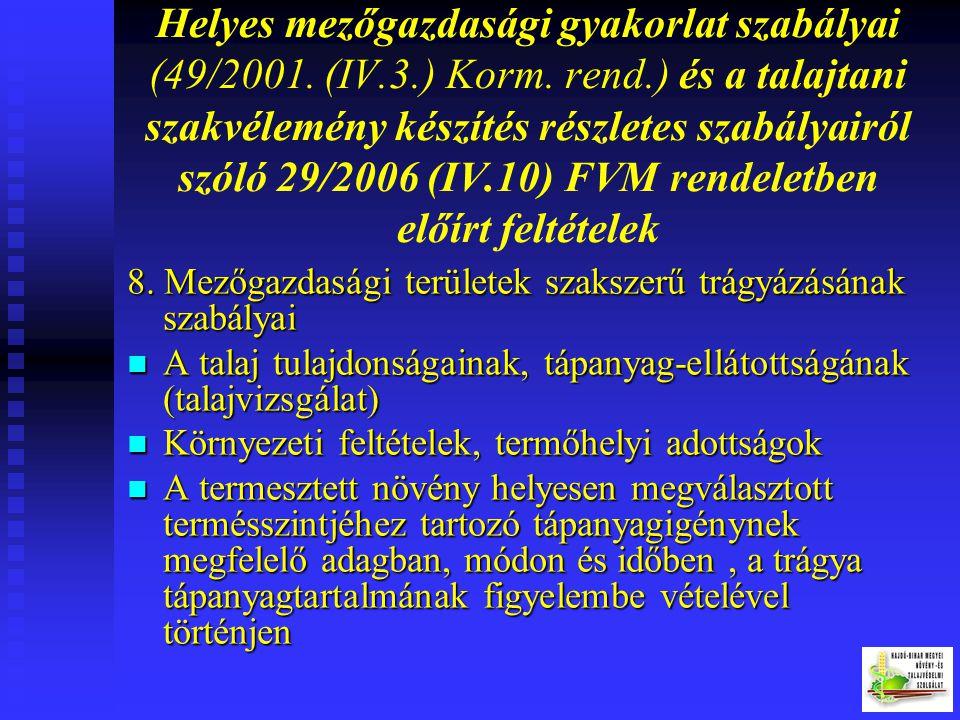 Helyes mezőgazdasági gyakorlat szabályai (49/2001. (IV.3.) Korm. rend.) és a talajtani szakvélemény készítés részletes szabályairól szóló 29/2006 (IV.10) FVM rendeletben előírt feltételek