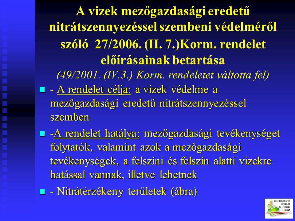 A vizek mezőgazdasági eredetű nitrátszennyezéssel szembeni védelméről szóló 27/2006. (II. 7.)Korm. rendelet előírásainak betartása (49/2001. (IV.3.) Korm. rendeletet váltotta fel)