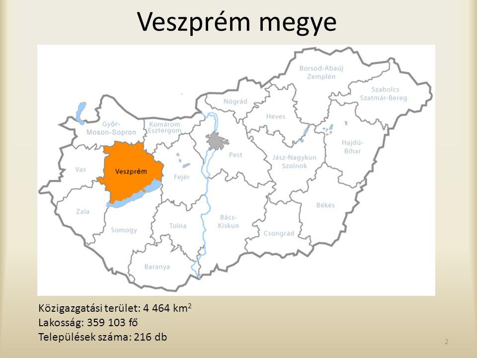 Veszprém megye Közigazgatási terület: 4 464 km2 Lakosság: 359 103 fő