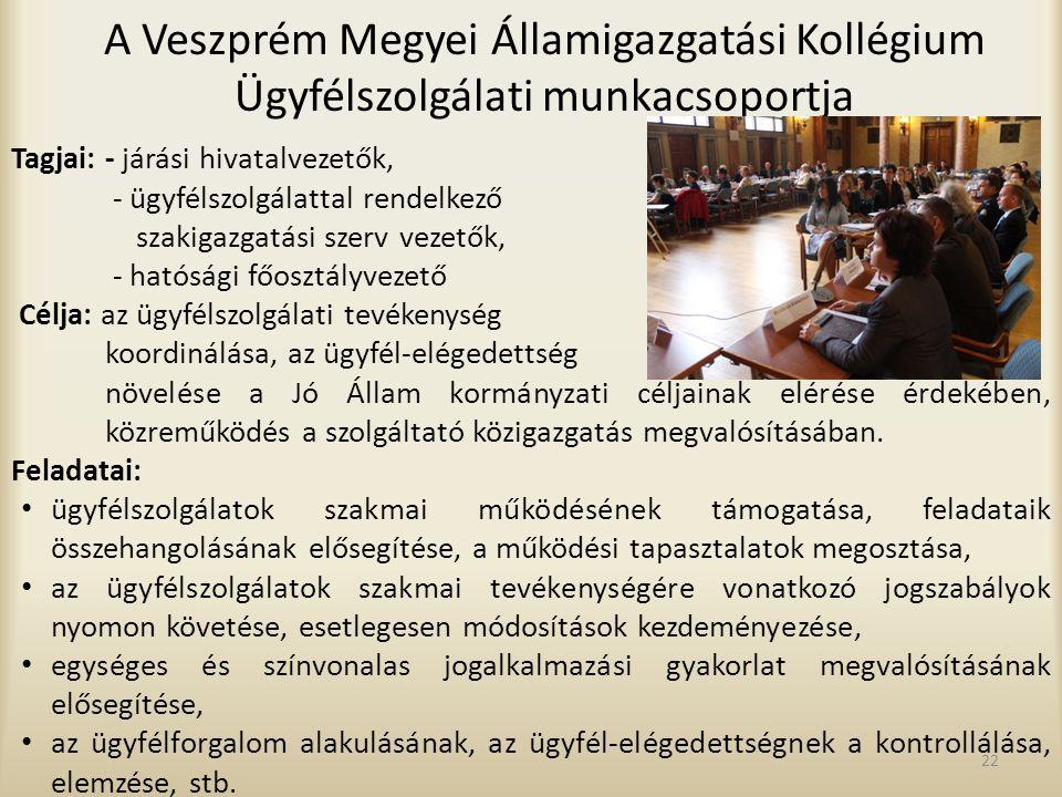 A Veszprém Megyei Államigazgatási Kollégium Ügyfélszolgálati munkacsoportja