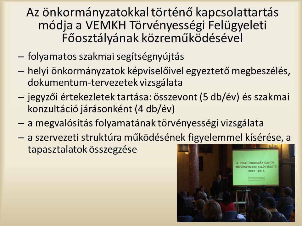 Az önkormányzatokkal történő kapcsolattartás módja a VEMKH Törvényességi Felügyeleti Főosztályának közreműködésével