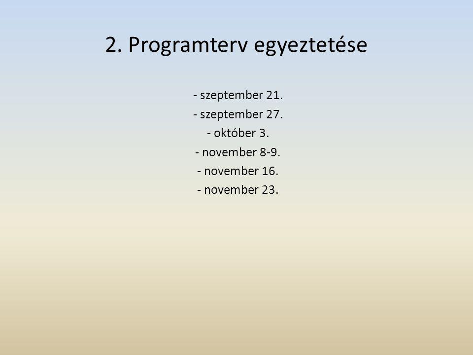 2. Programterv egyeztetése