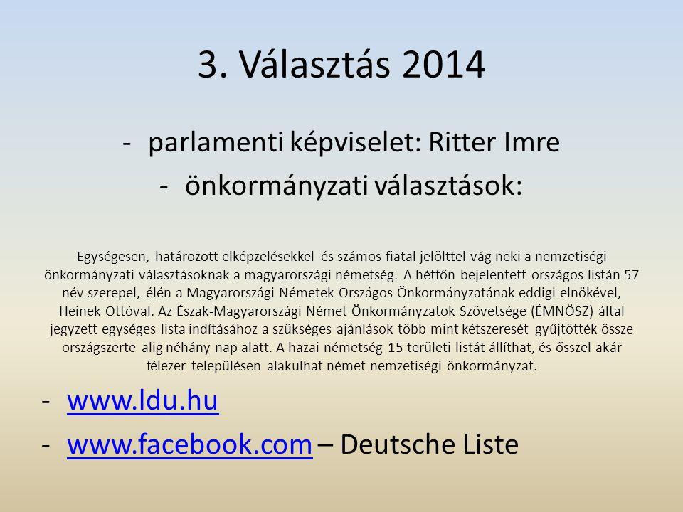 3. Választás 2014 parlamenti képviselet: Ritter Imre
