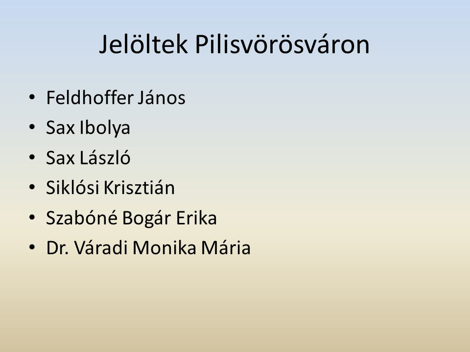 Jelöltek Pilisvörösváron