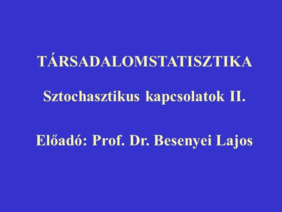 TÁRSADALOMSTATISZTIKA Sztochasztikus kapcsolatok II.