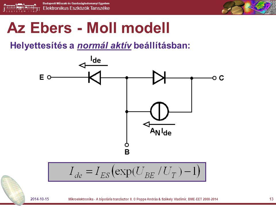 Az Ebers - Moll modell Helyettesítés a normál aktív beállításban: