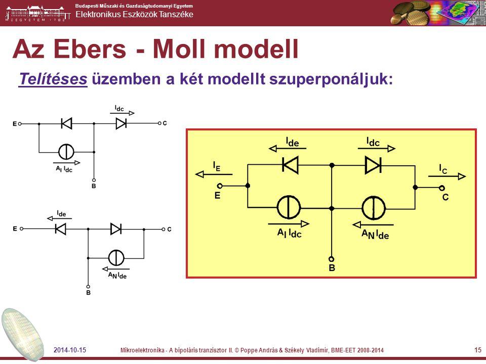 Az Ebers - Moll modell Telítéses üzemben a két modellt szuperponáljuk: