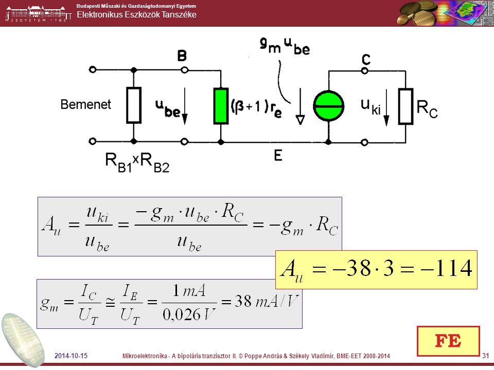 FE 2014-10-15. Mikroelektronika - A bipoláris tranzisztor II.
