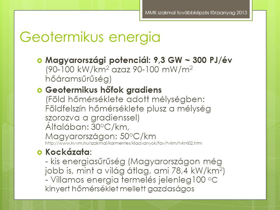 Geotermikus energia Magyarországi potenciál: 9,3 GW ~ 300 PJ/év (90-100 kW/km2 azaz 90-100 mW/m2 hőáramsűrűség)