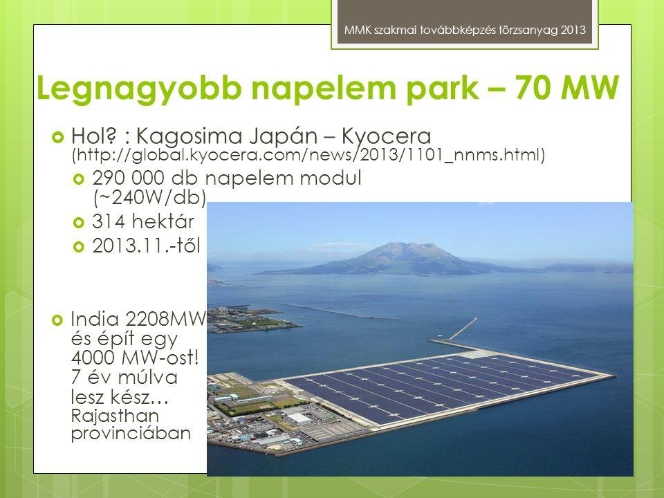 Legnagyobb napelem park – 70 MW