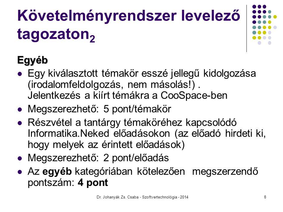 Követelményrendszer levelező tagozaton2