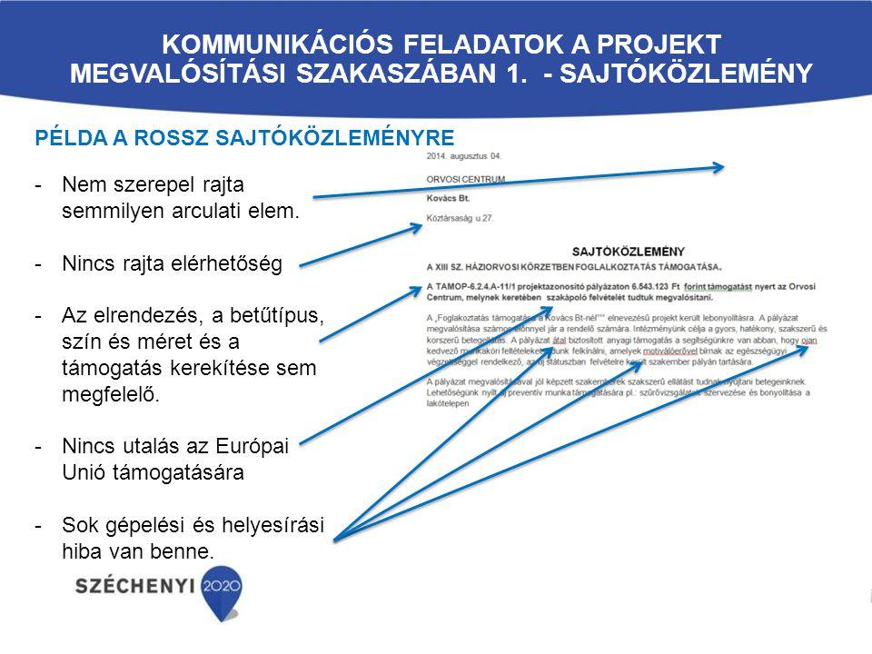 Kommunikációs feladatok a projekt megvalósítási szakaszában 1
