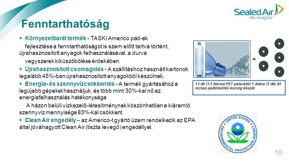 Fenntarthatóság Környezetbarát termék - TASKI Americo pad-ek