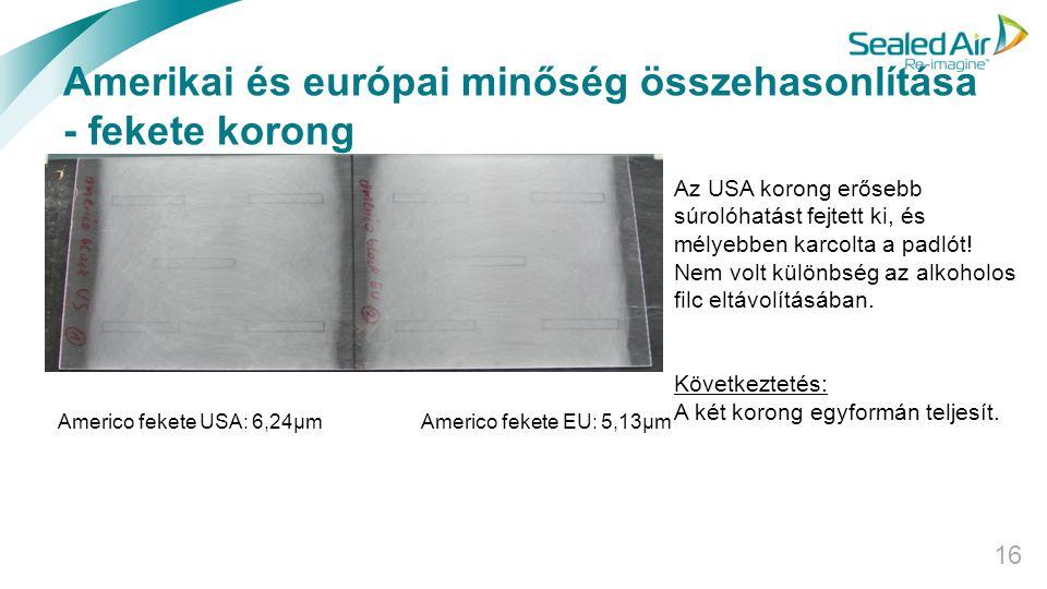 Amerikai és európai minőség összehasonlítása - fekete korong