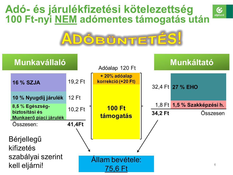+ 20% adóalap korrekció (+20 Ft)