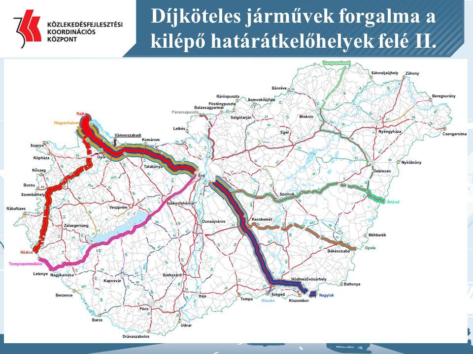 Díjköteles járművek forgalma a kilépő határátkelőhelyek felé II.