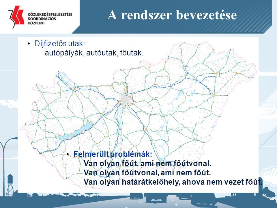 A rendszer bevezetése Díjfizetős utak: autópályák, autóutak, főutak.
