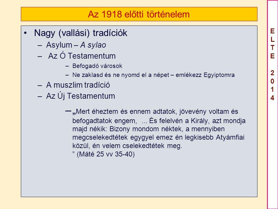 Az 1918 előtti történelem Nagy (vallási) tradíciók. Asylum – A sylao. Az Ó Testamentum. Befogadó városok.
