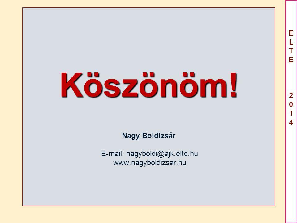 Köszönöm. Nagy Boldizsár E-mail: nagyboldi@ajk. elte. hu www