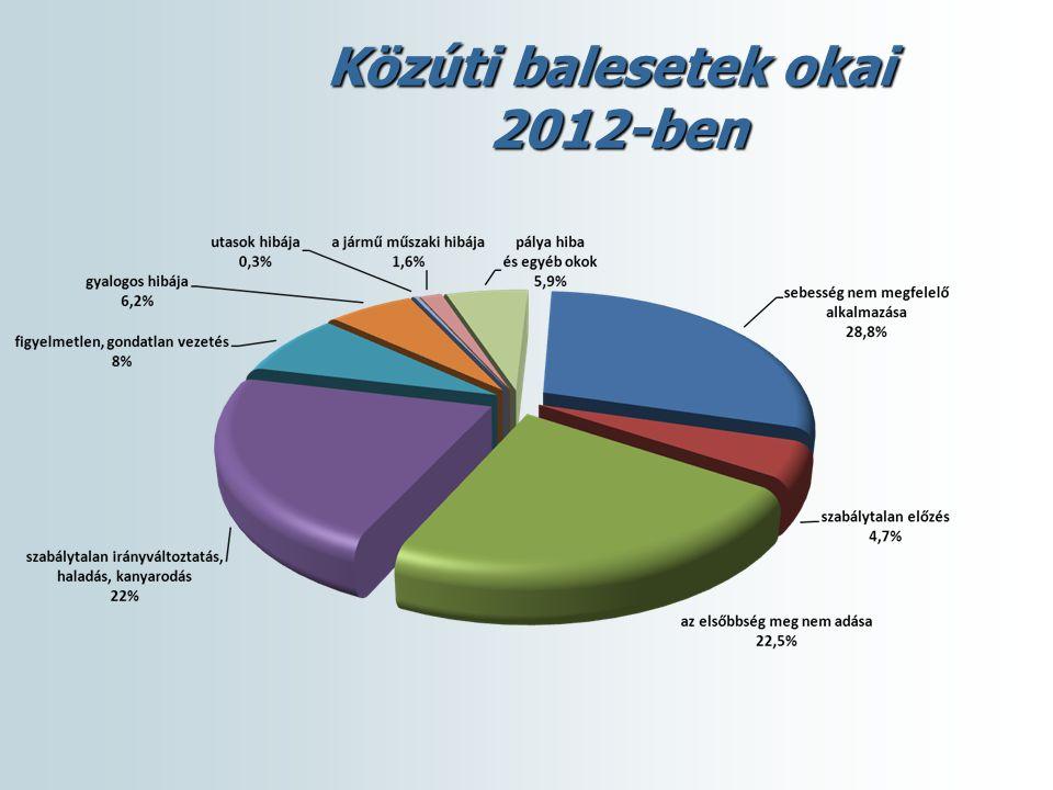 Közúti balesetek okai 2012-ben