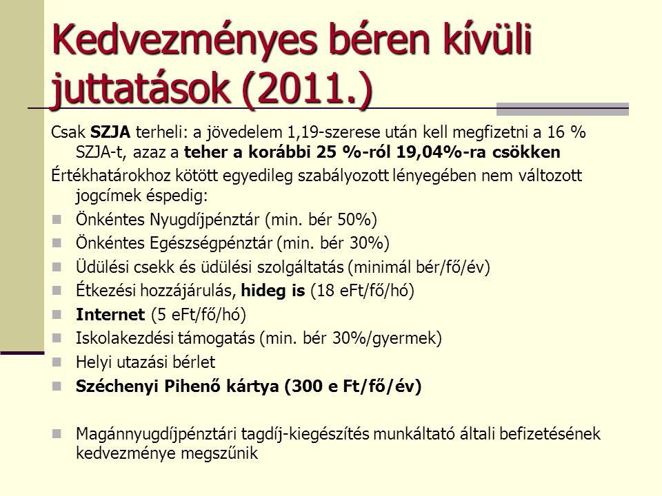 Kedvezményes béren kívüli juttatások (2011.)