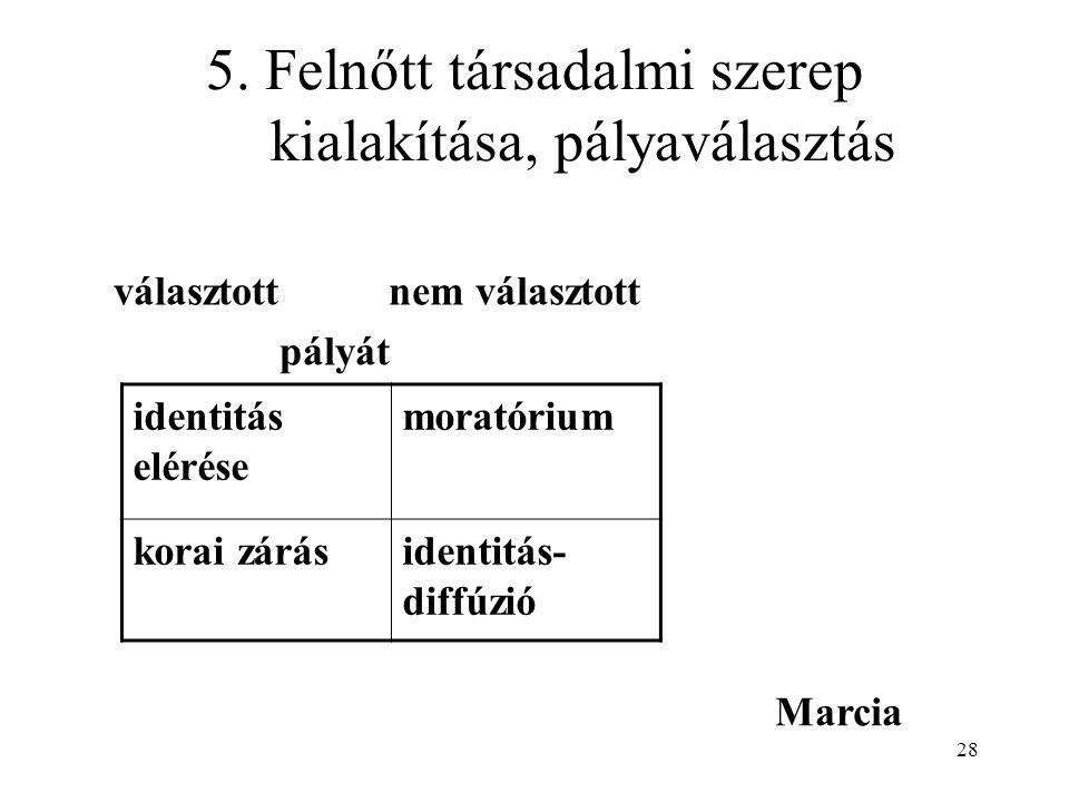5. Felnőtt társadalmi szerep kialakítása, pályaválasztás