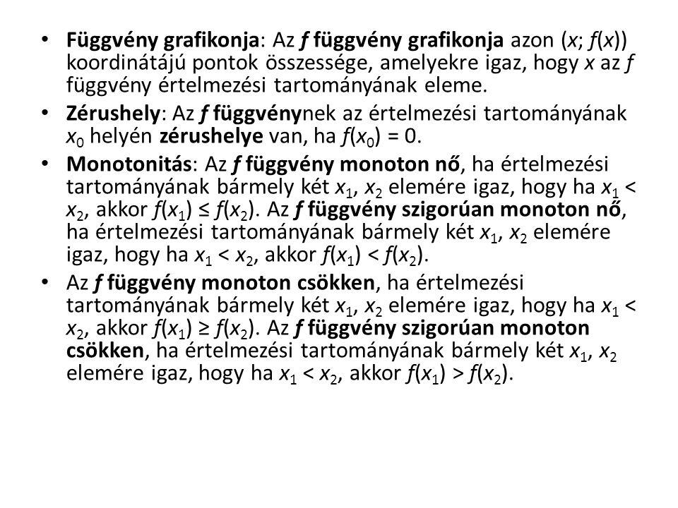 Függvény grafikonja: Az f függvény grafikonja azon (x; f(x)) koordinátájú pontok összessége, amelyekre igaz, hogy x az f függvény értelmezési tartományának eleme.