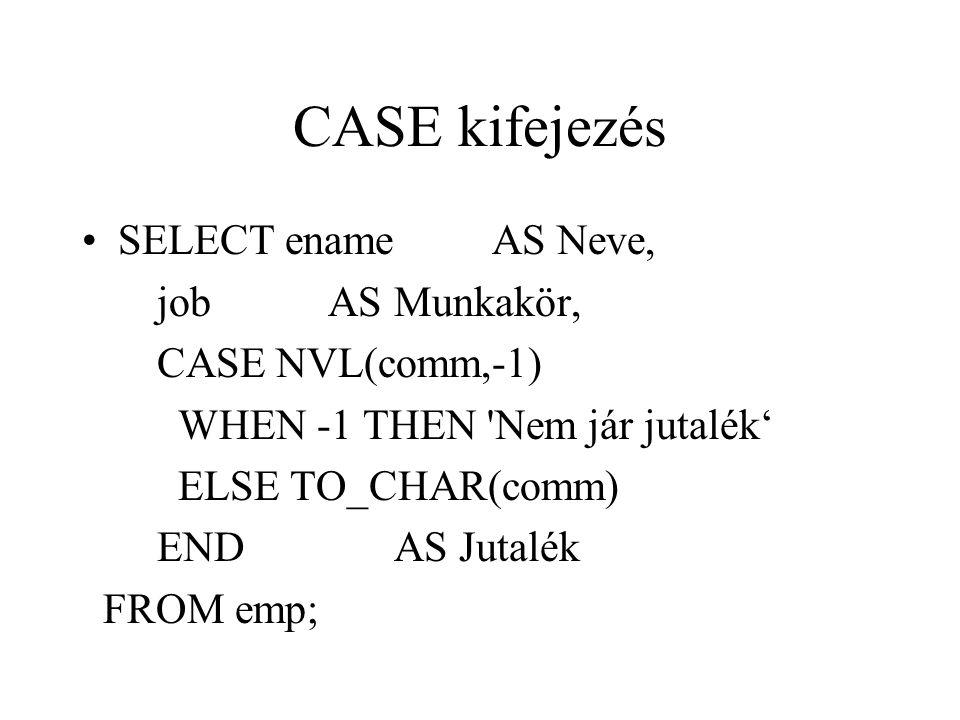 CASE kifejezés SELECT ename AS Neve, job AS Munkakör,