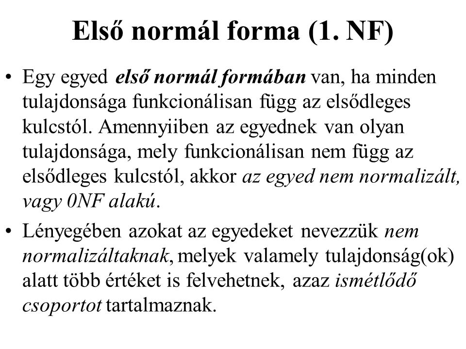 Első normál forma (1. NF)