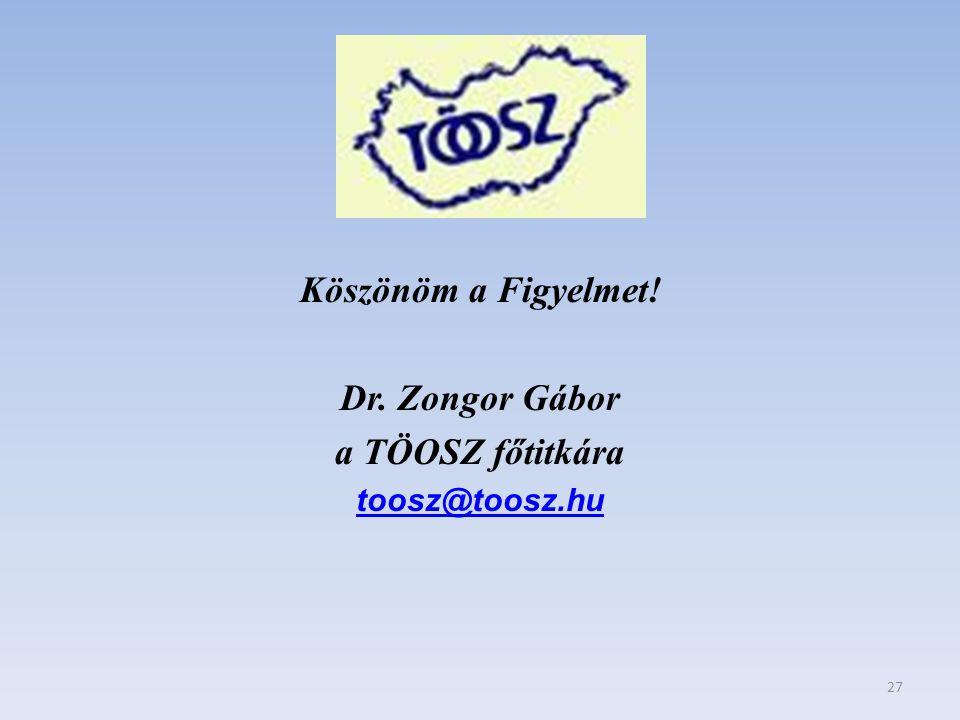 Köszönöm a Figyelmet! Dr. Zongor Gábor a TÖOSZ főtitkára