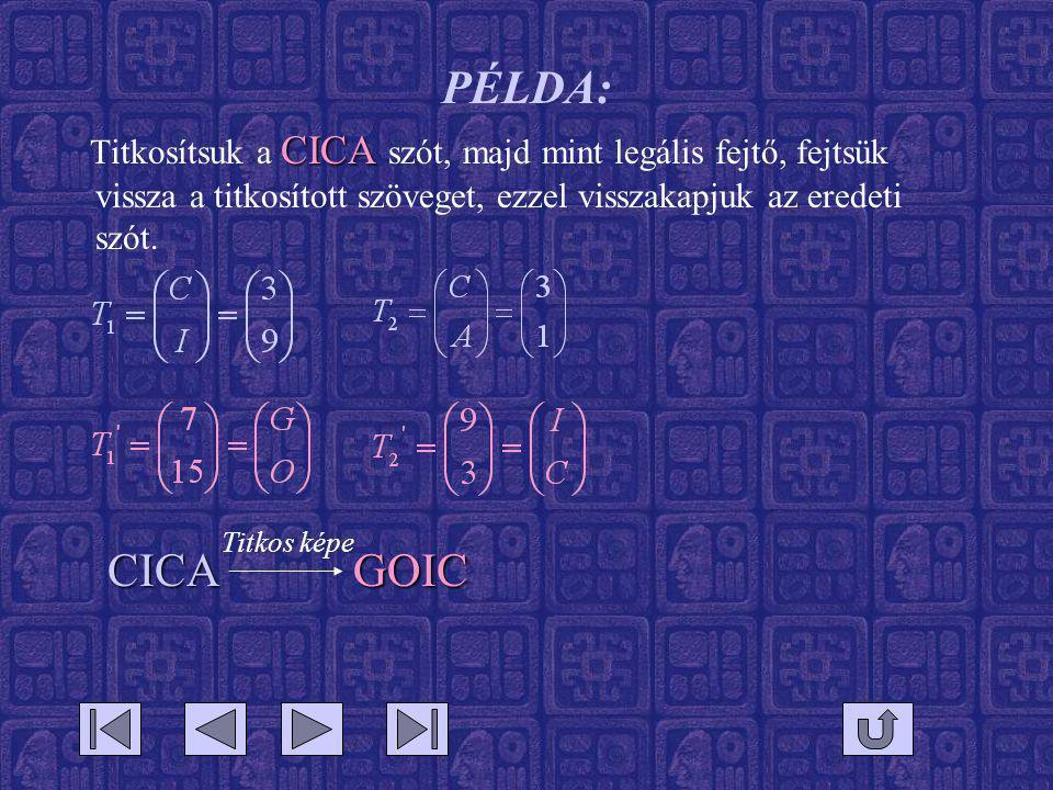 PÉLDA: Titkosítsuk a CICA szót, majd mint legális fejtő, fejtsük vissza a titkosított szöveget, ezzel visszakapjuk az eredeti szót.