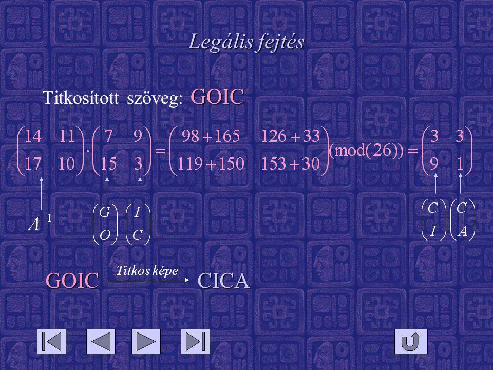 Legális fejtés Titkosított szöveg: GOIC Titkos képe GOIC CICA