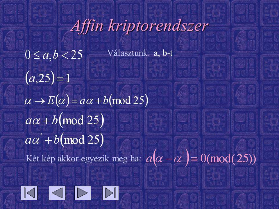 Affin kriptorendszer Választunk: a, b-t Két kép akkor egyezik meg ha: