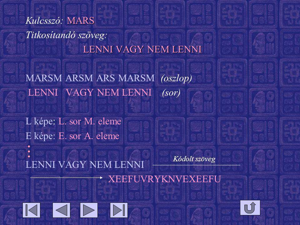 MARSM ARSM ARS MARSM (oszlop) LENNI VAGY NEM LENNI (sor)
