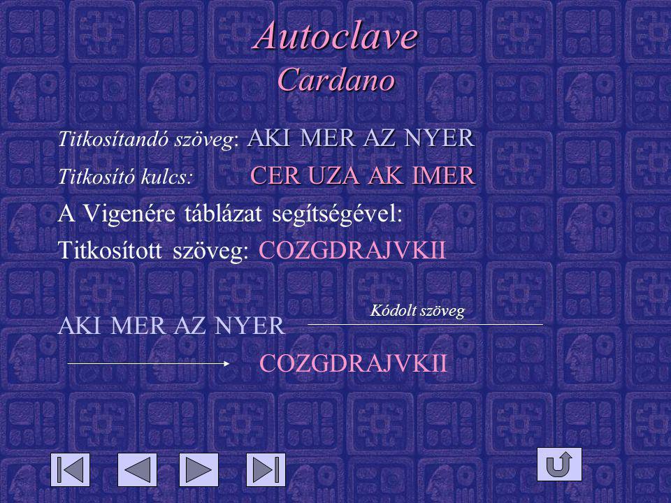 Autoclave Cardano A Vigenére táblázat segítségével: