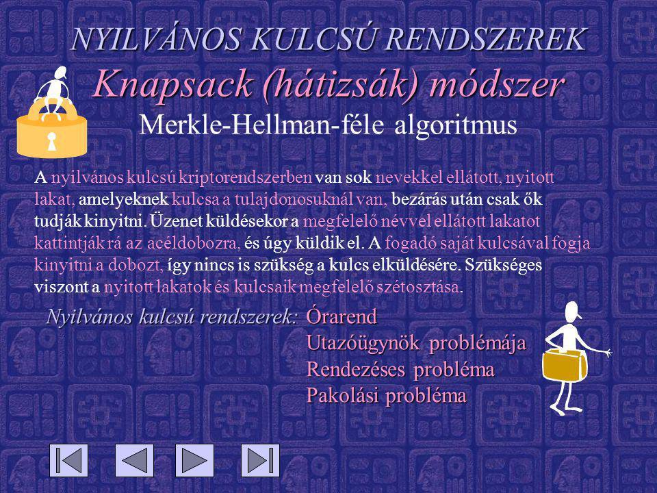NYILVÁNOS KULCSÚ RENDSZEREK Knapsack (hátizsák) módszer Merkle-Hellman-féle algoritmus