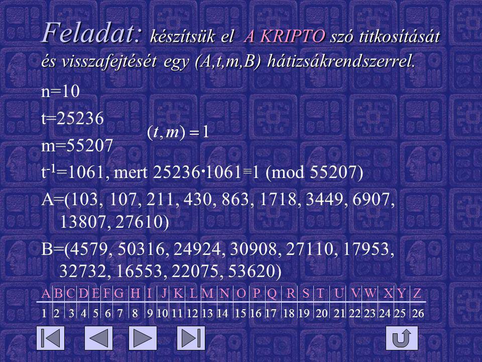 Feladat: készítsük el A KRIPTO szó titkosítását és visszafejtését egy (A,t,m,B) hátizsákrendszerrel.